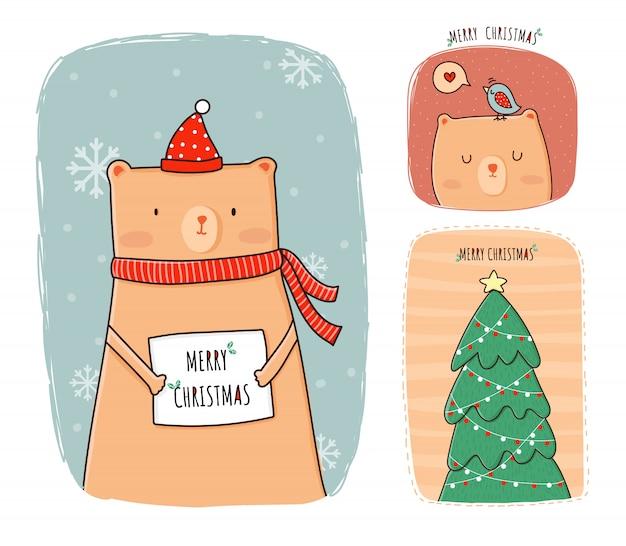 Christmas animal cartoon cute  bear character for greeting ,,