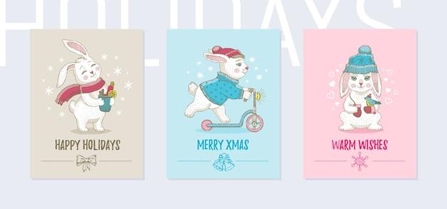 크리스마스 동물 인사말 카드, 포스터 세트. 귀여운 포스터, 낙서 스케치 토끼, 견적 슬로건.