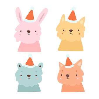 Рождественская иллюстрация животных в шляпе санта-клауса