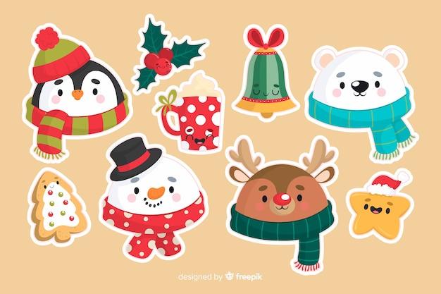 크리스마스 동물 및 장식 요소 집합