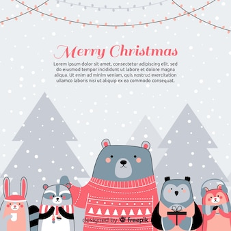 Christmas animals background