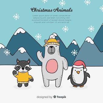 Christmas animals background