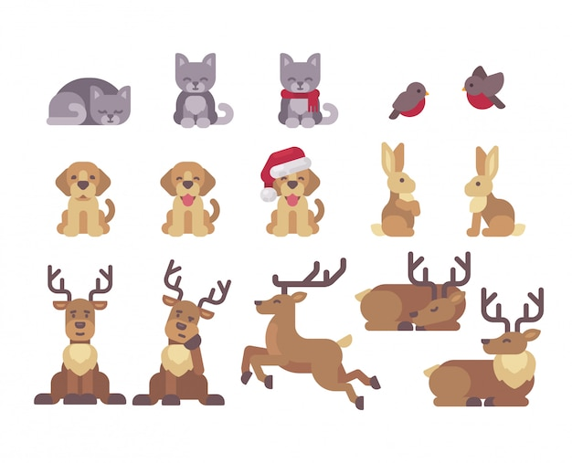 Christmas animals collection.