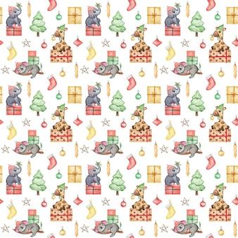 クリスマスの動物のパターンの赤ちゃんの繰り返しの背景