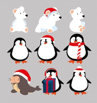 Christmas animals with icons set