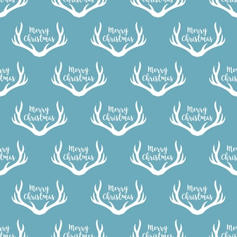 Christmas antlers silhouette seamless pattern. xmas deer illustration. animal head texture. design for textile, wallpaper, web, fabric, decor etc.