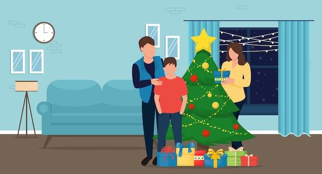 집에서 크리스마스. 가족은 크리스마스 트리를 장식하고 선물을 넣어.