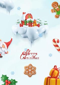 クリスマスの背景。 3dベクトル漫画イラスト