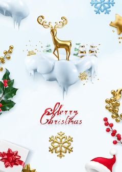 Рождественский фон. 3d векторные иллюстрации