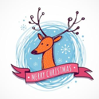 クリスマスの背景とかわいい鹿のイラストとグリーティングカード