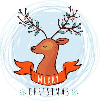 귀여운 사슴 일러스트와 함께 크리스마스 배경 및 인사말 카드
