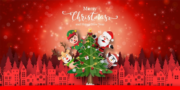 サンタクロースと町の友人のクリスマスの背景バナー