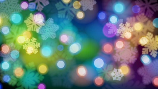 Christmas background of big and small defocused snowflakes with bokeh effect