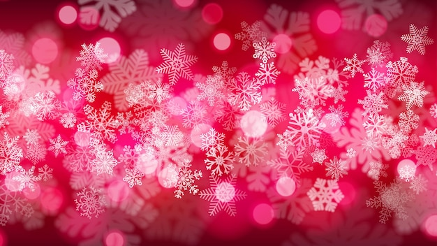 Christmas background of big and small snowflakes with bokeh effect, in crimson colors