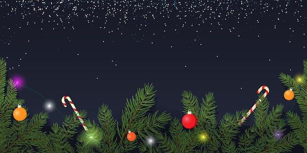 Новогодний фон ветви елки рождественские шары и гирлянды вектор плоский