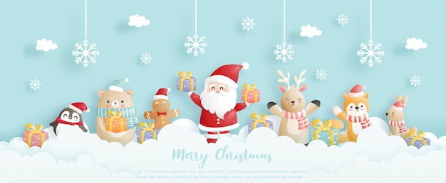 Christmas background celebrations with santa and friends, christmas scene in paper cut style