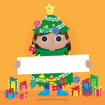 Christmas background of character with a poster