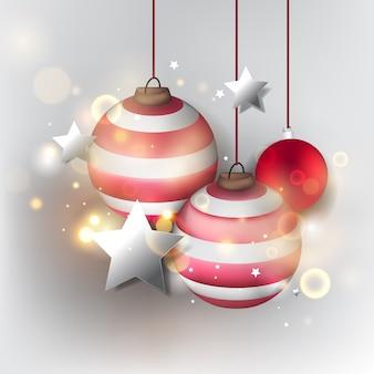 クリスマスの背景。クリスマスボールと抽象的な光