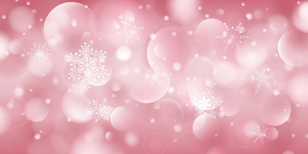 Christmas background of complex big and small falling snowflakes in pink colors with bokeh effect