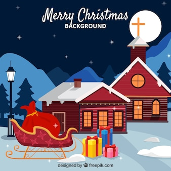 Christmas background con casas y trineo
