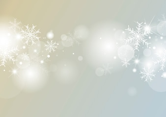 Christmas background concept design of white snowflake and snow with bokeh