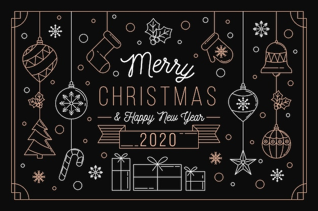 Christmas background concept in outline style