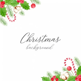 Christmas background - corner decoration of holly berries and leaves, cotton flower, pine leaves and candy cane