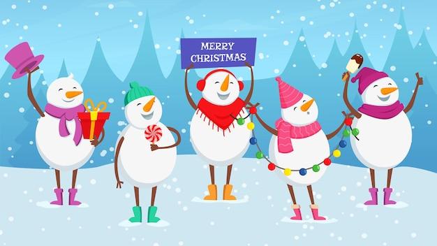 크리스마스 배경입니다. 귀여운 만화 눈사람, 화환, 아이스크림, 사탕 벡터 삽화가 있는 새해 눈 덮인 공. 만화 화환과 눈사람 크리스마스