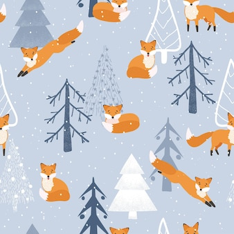 Christmas background. cute fox, winter forest, snow. seamless pattern on a white background. winter forest with animals and a christmas tree.