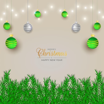 Christmas background decoration with branch and light