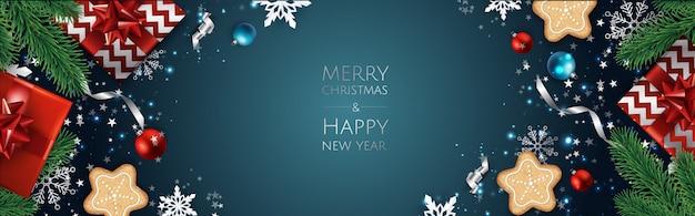 クリスマスの背景、デザイングリーティングカード、バナー、ポスター、トップビューギフトボックス、クリスマスデコレーションボール、雪、