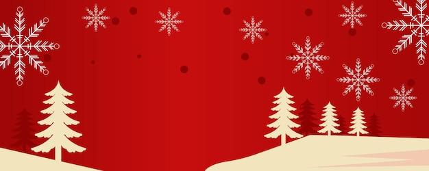 赤と金色の冬のベクトル図に降る雪と松の木と雪の結晶のクリスマスの背景デザイン