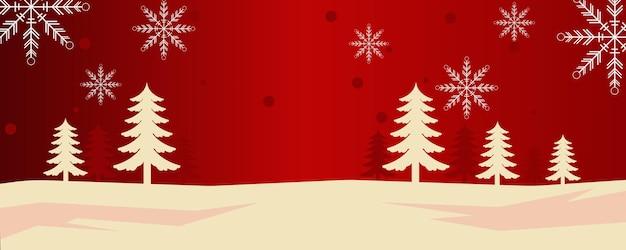 松の木と雪が冬に降る雪の結晶のクリスマスの背景デザインベクトル図