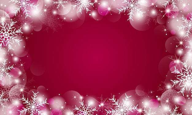 Christmas background design of snowflakes and bokeh lights