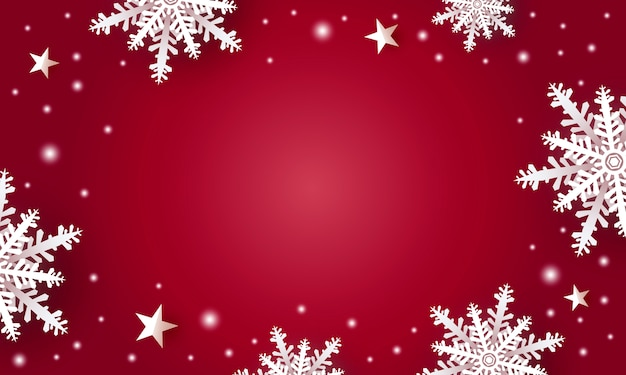 Christmas background design of white snowflake and star with copy space