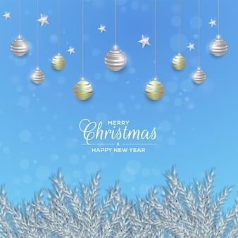 Рождественский фон дизайн с белой веткой