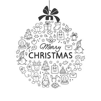 크리스마스 배경 크리스마스에서 공으로 겨울 휴가 인사말 카드 낙서