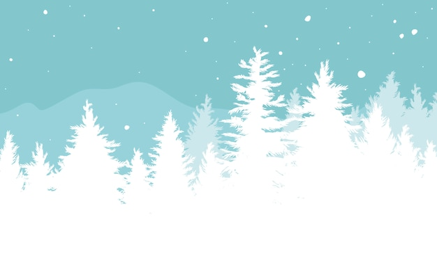 Christmas background of fir trees with snow falling in the winter