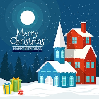 Christmas background flat design