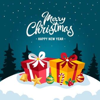 クリスマスの背景フラットデザイン