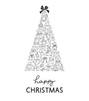 크리스마스 배경 크리스마스 트리의 형태로 겨울 휴가 낙서의 인사말 카드
