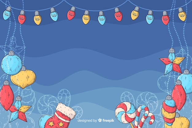 Christmas background in hand drawn design