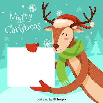 Christmas background hand drawn reindeer