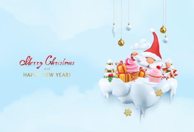 Рождественский фон. счастливый санта-клаус 3d векторные иллюстрации шаржа