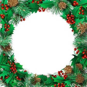 クリスマスの背景。高詳細なラウンドフレーム。ヤドリギ、松の枝、コーン