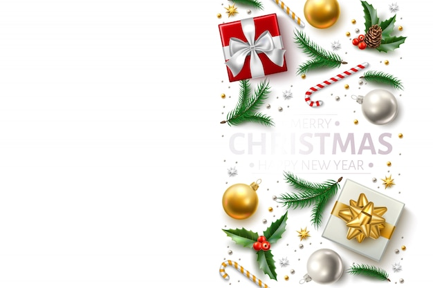 Christmas background holiday symbols realistic set - present gift box, cane candy, spruce tree branch and toys.