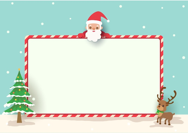 Christmas background holiday with santa claus and frame