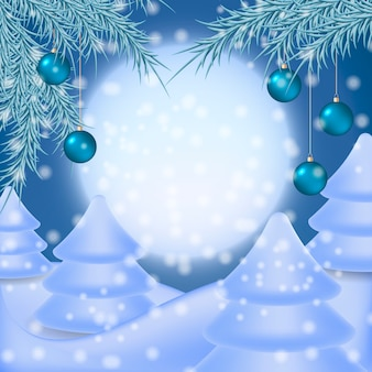 Christmas background illustration with winter night landscape.