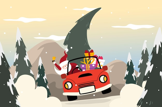 フラットなデザインのクリスマス背景