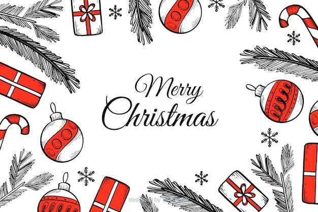 Рождественский фон в рисованной